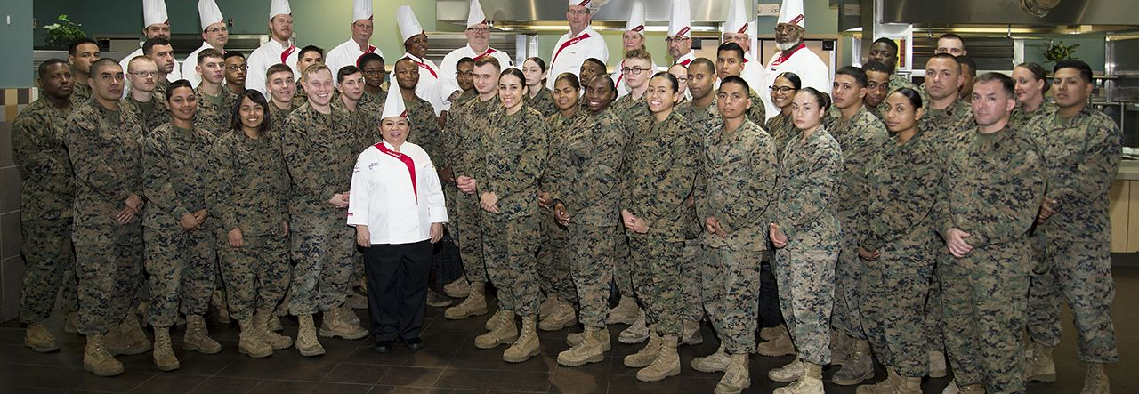 Sodexo chefs with group of military personnel